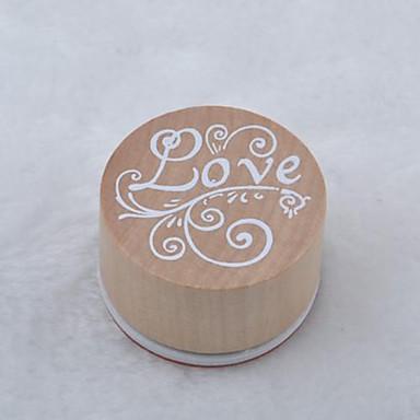 vintage bloemmotief woord ronde houten rubberen stempel (liefde)