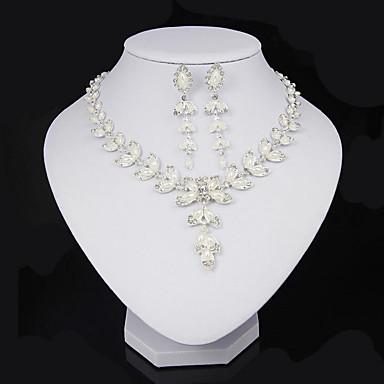Kadın's Yapay Elmas / İmitasyon İnci İnci / Kristal / İmitasyon İnci Leaf Shape Takı Seti 1 Kolye / 1 Çift Küpe - Beyaz Takı Seti