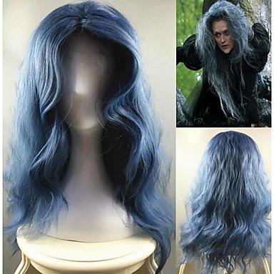 Peruki syntetyczne Water Wave Gęstość Bez czepka Damskie Niebieski Karnawałowa Wig Halloween Wig cosplay peruka Długo Włosy syntetyczne
