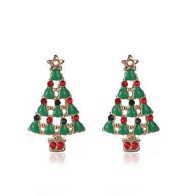 Cercei Stud Chrismas Cute Stil bijuterii de lux imitație de diamant Aliaj Verde Bijuterii Pentru Petrecere Zilnic Cadouri de Crăciun1