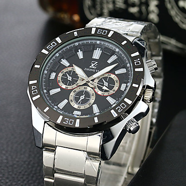 67306e6922438 رخيصةأون ساعات بأساور معدنية-رجالي ساعة رياضية ساعة المعصم كوارتز ستانلس  ستيل الأبيض ساعة كاجوال