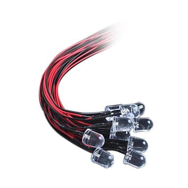 10mm LED light-emitting diode met een lijn van licht DC12V haar rood / wit / blauw / geel / groen (10st)
