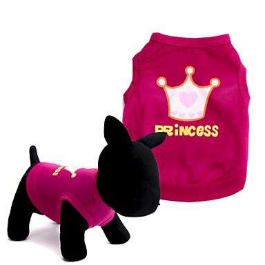 Koira T-paita Liivi Koiran vaatteet Tiarat ja kruunut Punainen Pinkki Teryleeni Asu Lemmikit Miesten Naisten Sievä Muoti