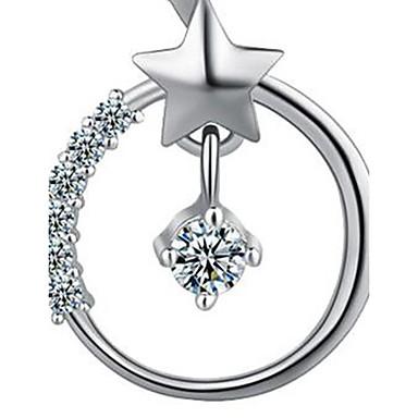 Kadın Uçlu Kolyeler Star Shape Mücevher Som Gümüş Zirkon Kübik Zirconia Temel Moda Mücevher Uyumluluk Günlük
