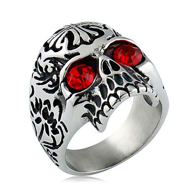 Ανδρικά Συνθετικό Diamond Ζιρκονίτης Δαχτυλίδι Δακτύλιος Δήλωσης - Μοντέρνα Μαύρο Κόκκινο Δαχτυλίδι Για Καθημερινά Causal
