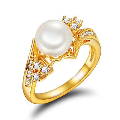 Kadın's Nişan yüzüğü Yüzük İnci Altın İnci İmitasyon İnci Altın Kaplama 18K Altın Düğün Parti Günlük Kostüm takısı