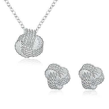 Pentru femei Zirconiu Cubic Argilă Set bijuterii 1 Colier 1 Pereche de Cercei - Argintiu Pentru Petrecere Zilnic