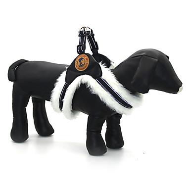 Köpek Koşum Takımı Ayarlanabilir / İçeri Çekilebilir Yansıtıcı Solid PU Deri Kumaş Beyaz Siyah Haki