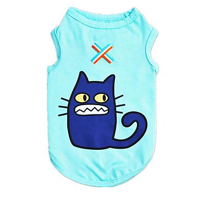 كلب T-skjorte سترة ملابس الكلاب كاجوال/يومي كارتون أزرق كوستيوم للحيوانات الأليفة