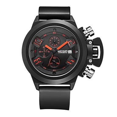 MEGIR Bărbați Quartz Piloane de Menținut Carnea Ceas de Mână Ceas Militar  Ceas Sport Calendar Cronograf Rezistent la Apă Silicon Bandă