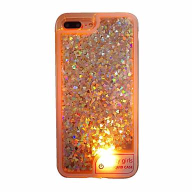 tok Για Apple iPhone 7 Plus iPhone 7 Ρέον υγρό LED Ημιδιαφανές Πίσω Κάλυμμα Καρδιά Μαλακή TPU για iPhone 7 Plus iPhone 7 iPhone 6s Plus