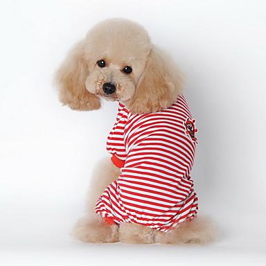Σκύλος Πυτζάμες Ρούχα για σκύλους Καθημερινά Ριγέ Μαύρο Κόκκινο Μπλε Στολές Για κατοικίδια
