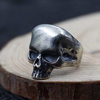 Ανδρικά Γυναικεία Δαχτυλίδι Κοσμήματα Εξατομικευόμενο Ανοικτό Προσαρμόσιμη Ασήμι Στερλίνας Skull shape Κοσμήματα Για Καθημερινά Causal