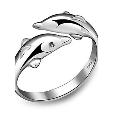 نساء خاتم قابل للتعديل فتح سبيكة دلفين حيوان مجوهرات يوميا فضفاض