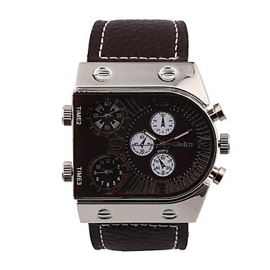 Bărbați Ceas Sport Ceas Militar Ceas La Modă Ceas de Mână Quartz Zone Triple De Timp Piele Autentică Bandă Vintage Casual MulticolorAlb