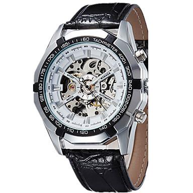 Erkek mekanik izle Bilek Saati Elbise Saat Moda Saat Spor Saat Otomatik kendi hareketli Gerçek Deri Bant İhtişam Günlük Çok-Renkli