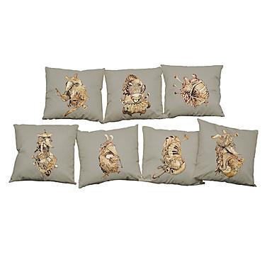 7 buc In Față de Pernă Față de pernă, Mată Floral Texturat Casual Stiluri de Plajă Suport Tradițional/Clasic Birou / Afacere
