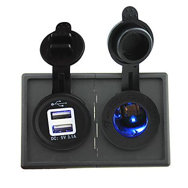 12V / 24V zapalniczki doprowadziły gniazdka zasilania i 3.1a podwójny port USB z panelu obudowy uchwytu samochodowego dla łodzi samochodów