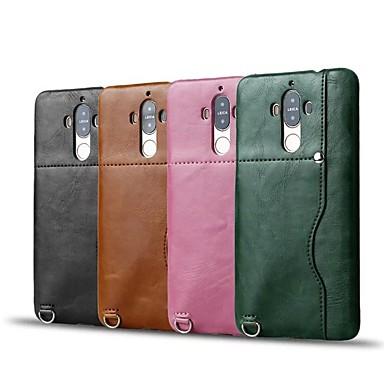 Pouzdro Uyumluluk Huawei Kart Tutucu Arka Kapak Tek Renk Sert PU Deri için Mate 9 Huawei