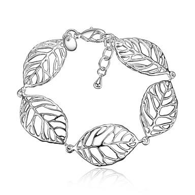Bilezikler Zincir & Halka Bileklikler Som Gümüş Leaf Shape Moda Eski Tip Doğumgünü Düğün Parti Mücevher Hediye Gümüş,1pc