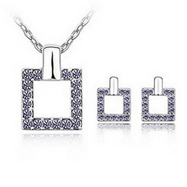Κρυστάλλινο Κράμα Λευκό Σκούρο μπλε Βυσσινί Μπλε Ροζ 1 Κολιέ 1 Ζευγάρι σκουλαρίκια Για Πάρτι 1set Δώρα Γάμου