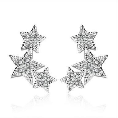 Kadın's Vidali Küpeler Kübik Zirconia Som Gümüş Zirkon Mücevher Düğün Parti Günlük Kostüm takısı