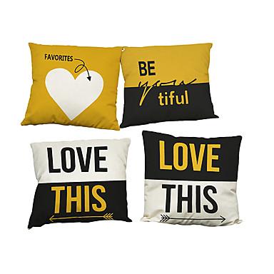 4 szt Bielizna Naturalne / ekologiczne Pokrywa Pillow Poszewka na poduszkę,Stały TexturedModern / Contemporary Biuro / Biznes Tradycyjny