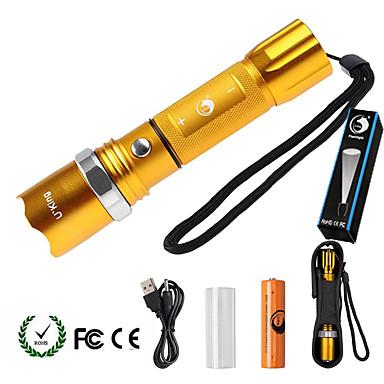 U'King LED taskulamput LED 2000 lm 5 Tila Cree XM-L T6 Akulla ja adapterilla Zoomable Säädettävä fokus Himmennettävissä