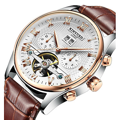 cheap Men's Watches-KINYUED Men's Skeleton Watch Wrist Watch Mechanical Watch Japanese Automatic self-winding Leather Black / Brown 30 m Water Resistant / Waterproof Calendar / date / day Chronograph Analog Luxury