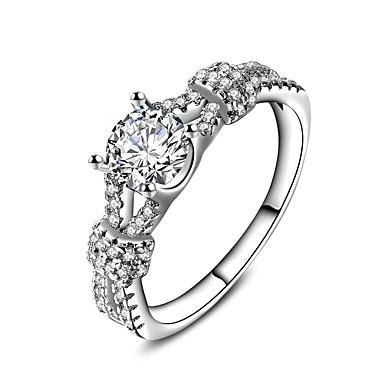 Δαχτυλίδι αρραβώνων Δαχτυλίδι Band Ring Λευκό Ζιρκονίτης Ασημί Γάμου Πάρτι Ειδική Περίσταση Καθημερινά Causal Κοστούμια Κοσμήματα