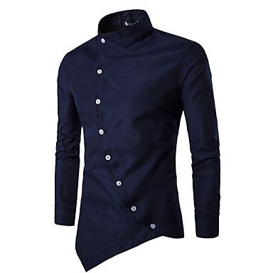 999af52fb رخيصةأون قمصان رجالي-رجالي قطن قميص نحيل رقبة طوقية مرتفعة - النمط الصيني  أساسي لون