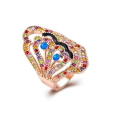 عصابة مكعب زركونيا يوميا فضفاض مجوهرات سبيكة زركون نساء خاتم 1PC,8 ذهبي روزي