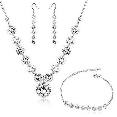 Cubic Zirconia Ζιρκονίτης Λευκό 1 Κολιέ 1 Ζευγάρι σκουλαρίκια Για Πάρτι 1set Δώρα Γάμου