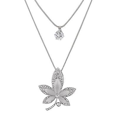نساء Leaf Shape موضة طبقة مزدوجة قلائد الحلي حجر الراين تقليد الماس سبيكة قلائد الحلي ، حزب يوميا