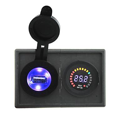 قاد 24V العرض الرقمي الفولتميتر و2.1A محول USB مع لوحة حامل السكن للقارب سيارة شاحنة رف