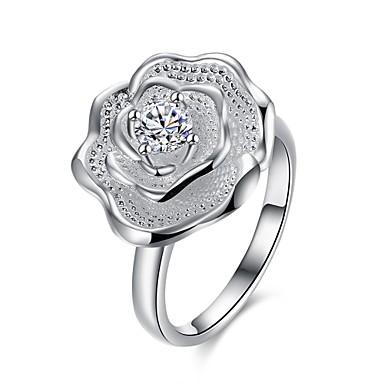Yüzükler Kübik Zirconia Günlük Mücevher Zirkon Bakır Gümüş Kaplama Kadın Yüzük 1pc,7 8 Gümüş