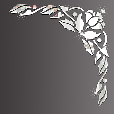 Peilit Muoti Kukkakuviot Wall Tarrat 3D-seinätarrat Peilitarrat Koriste-seinätarrat, Lasi Kodinsisustus Seinätarra Seinä Lasi / WC