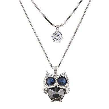 Naisten Owl Muoto söpö tyyli Muoti Kaksoiskerros Riipus-kaulakorut Tekojalokivi Timanttijäljitelmä Metalliseos Riipus-kaulakorut Party