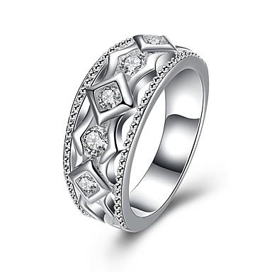Κρίκοι Cubic Zirconia Καθημερινά Causal Κοσμήματα Ζιρκονίτης Χαλκός Επάργυρο Γυναικεία Δαχτυλίδι 1pc,7 8 Ασημί