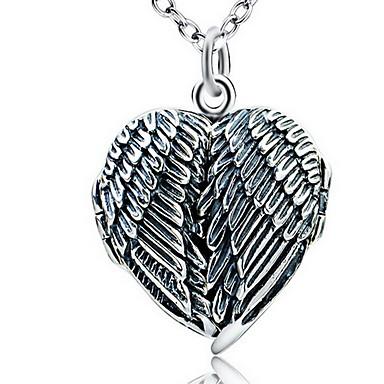 Damskie Naszyjniki z wisiorkami Biżuteria Pojedynczy Strand Heart Shape Biżuteria Skrzydła / Feather Srebro standardowe Vintage