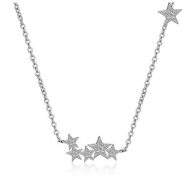 Gwiazda Kübik Zirconia Gümüş Kaplama Gerdanlıklar Uçlu Kolyeler - Kişiselleştirilmiş Yapay elmas Temel Moda Çok güzel Gwiazda Gümüş