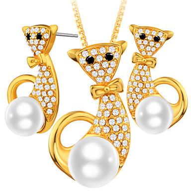 نساء مجموعة مجوهرات مجوهرات اسلوب لطيف يوميا فضفاض روز جولد قط حيوان 1 قلادة 1 زوج من الأقراط