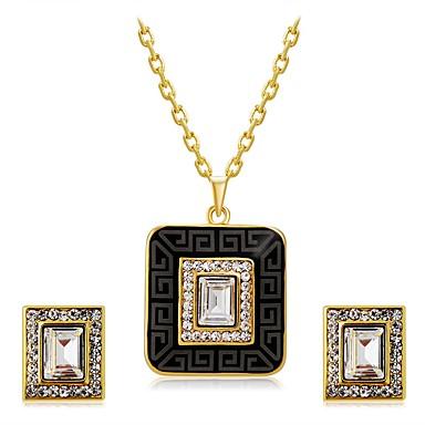 Dame Cristal Zirconiu Cubic Cristal Zirconiu Cubic Aliaj Pătrat Geometric Shape 1 Colier 1 Pereche de Cercei Pentru Nuntă Petrecere