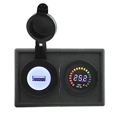 24v doprowadziły woltomierz cyfrowy wyświetlacz oraz 2.1a adapter USB z panelem uchwytu Obudowa dla ciężarówek łodzi samochodów