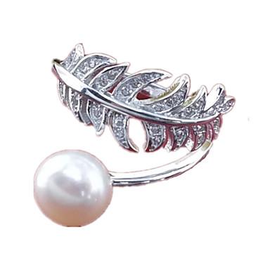 نساء خاتم لؤلؤ تقليدي فضة نقية لؤلؤ تقليدي مجوهرات من أجل يوميا فضفاض