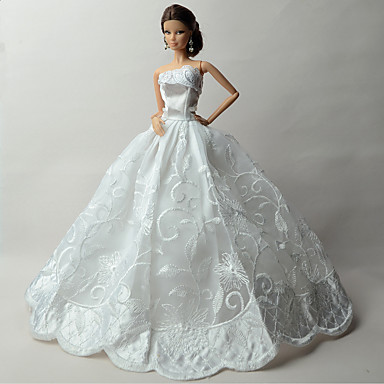 Düğün Elbiseler İçin Barbie Bebek Dantel organza Elbise İçin Kız Oyuncak bebek