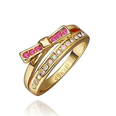 Yüzükler Kübik Zirconia Günlük Mücevher alaşım Zirkon Altın Kaplama Gül Rengi Altın Kaplama Kadın Yüzük 1pc,8 Gül Altın Sarı Altın