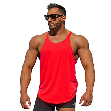 economico Abbigliamento uomo-Canotte Per uomo Sport / Spiaggia Attivo Basic, Tinta unita Cotone Blu marino L / Senza maniche / Estate