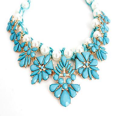 Γυναικεία Κρεμαστά Κολιέ Κοσμήματα Μαργαριτάρι Κράμα Flower Shape Κοσμήματα Μοντέρνα Εξατομικευόμενο Euramerican Μπεζ Μπλε Απαλό Κοσμήματα