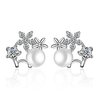 Vidali Küpeler İmitasyon İnci İmitasyon İnci Beyaz Mücevher Için Düğün Parti Günlük 1 çift